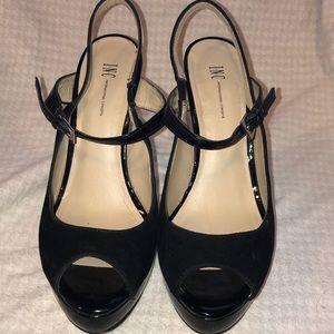 Pre-own INC sling back black patent & suede heels